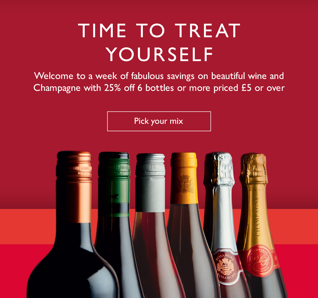25% OFF 6 Bottles or more of wine and champagne | priced £5 or over